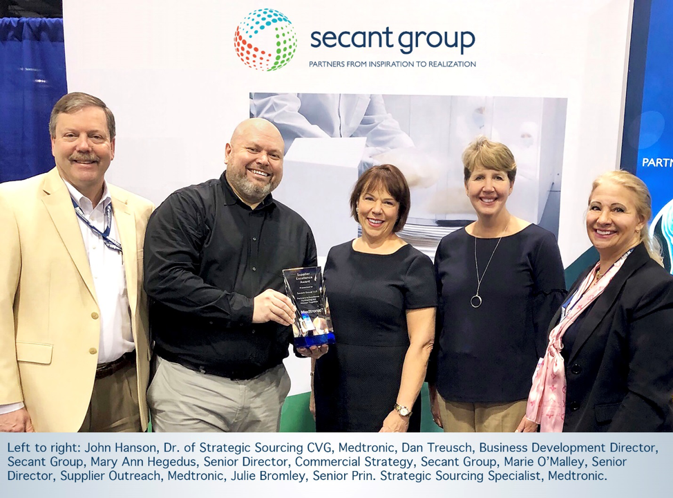 secant receives medtronic supplier excellence award secant group